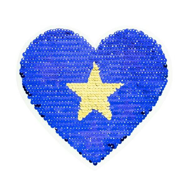 Applikation Herz mit Stern blau / gold / silber Wendepailletten Aufnäher