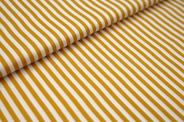 Baumwollstoff Baumwolle Streifen senf / weiß