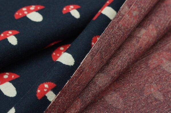 Jacquard-Sweat Ben mit rot und off white Fliegenpilzen auf navy blau