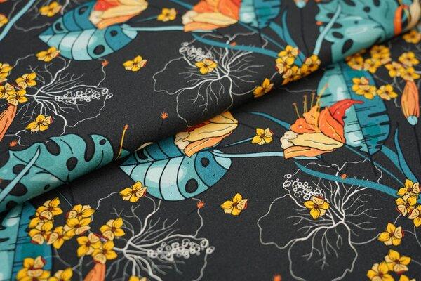 Baumwoll-Jersey Digitaldruck Blumen Pflanzen Palmenblätter auf sehr dunkelgrau