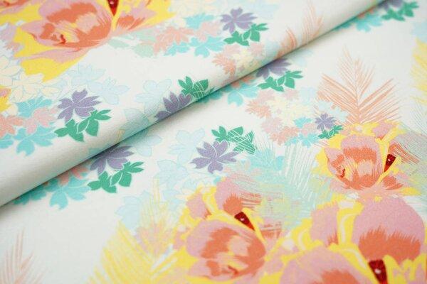Baumwoll-Jersey Digitaldruck Blumen und Blätter mint / koralle / lachs / gelb