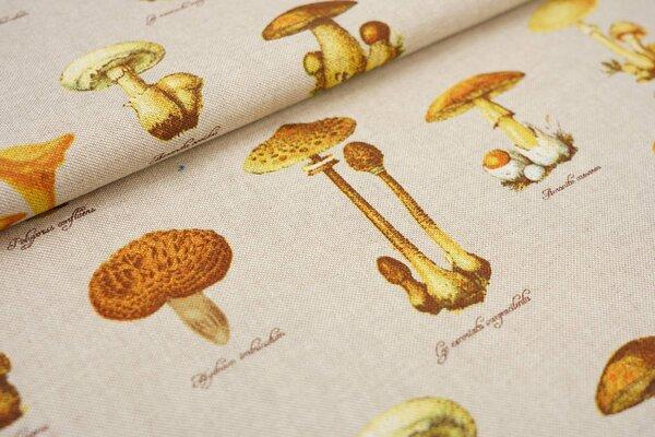 Canvas-Stoff Dekostoff in Leinenoptik natur Pilze