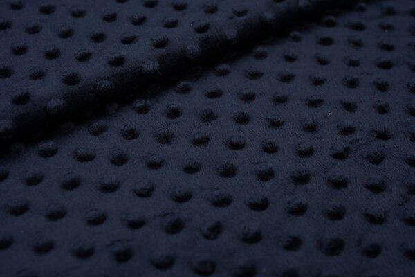 Minky Bubble Fleece Noppen Punkte uni sehr dunkelblau