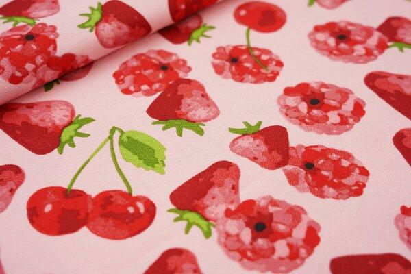Canvas-Stoff Dekostoff in Leinenoptik Himbeeren Erdbeeren Kirschen auf rosa