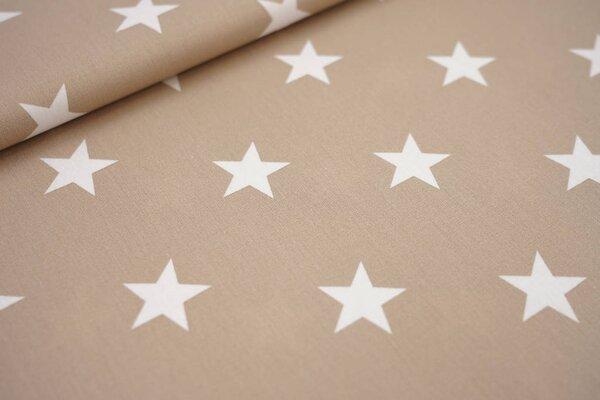 Baumwollstoff Baumwolle beige sand mit sehr großen weißen Sternen