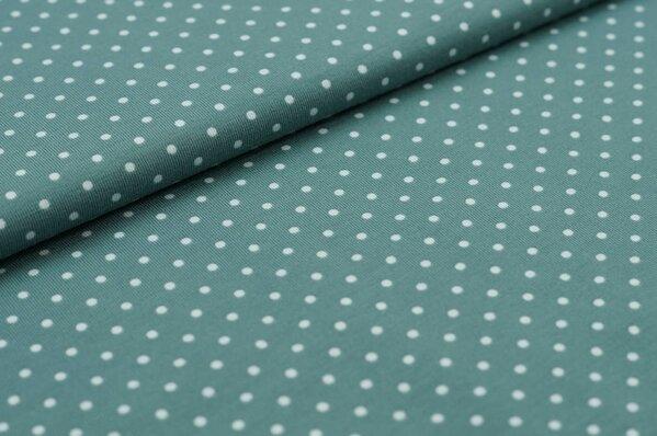Baumwoll-Jersey kleine altmint Punkte auf dunkel altmint