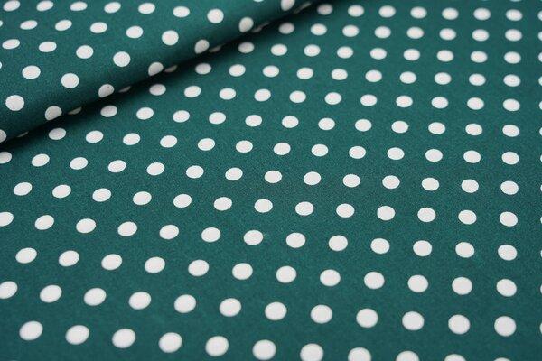 Baumwollstoff Baumwolle große Punkte waldgrün / weiß