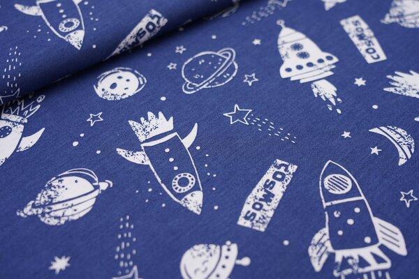 Sommer T-Shirt-Stoff / leichter Jersey Weltall Raketen Mond Sterne blau / weiß