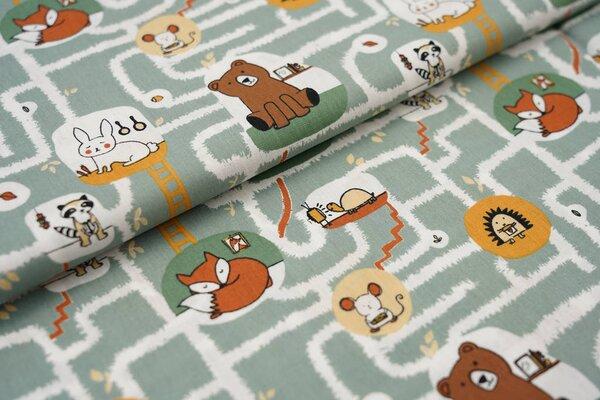 Baumwolle Untergrund Labyrinth Tiere altgrün Bär Maus Schildkröte Igel Fuchs Hase