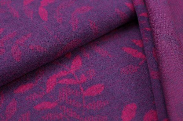 Kuschel Jacquard-Sweat Max amarant pinke Blätter auf lila