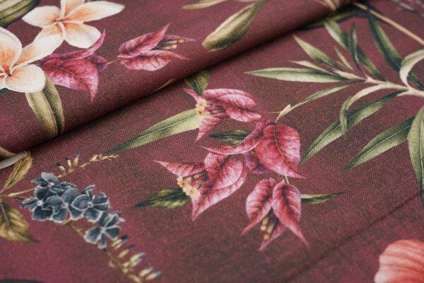 Dekostoff Canvas Digitaldruck Blätter Blumen Pflanzen auf rotbraun