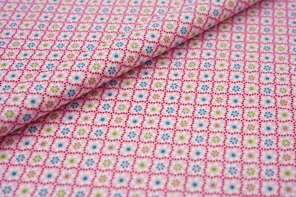 Baumwolle Swafing Julia Retro Blumen Muster rosa / weiß / rot / petrol