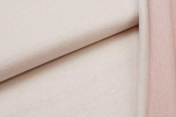 Jacquard-Sweat Ben off white Uni mit off white koralle und hell mint Rückseite