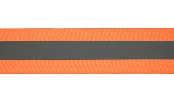 Reflektierendes Band neon orange / silber 50 mm Reflektionsband Reflektorband