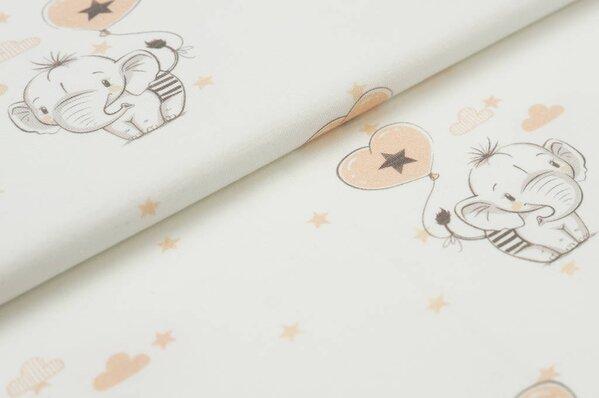 Traumbeere Baumwoll-Jersey Digitaldruck Baby Elefant mit Luftballon Sterne auf off white