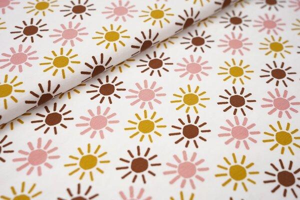 Baumwoll-Jersey Sonnen in lachs / senf / braun auf weiß