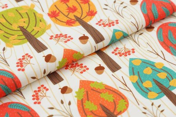 Baumwoll-Jersey Digitaldruck Herbst Bäume Blätter Eicheln auf off white