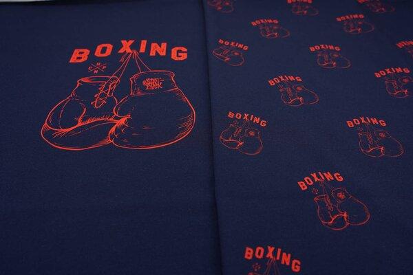 XL Panel Baumwoll-Jersey rote Boxhandschuhe auf dunkelblau Boxing Digitaldruck