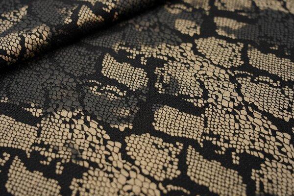 Elastischer Glitzer Jersey Modestoff Schlangenhaut schwarz / gold / schwarz