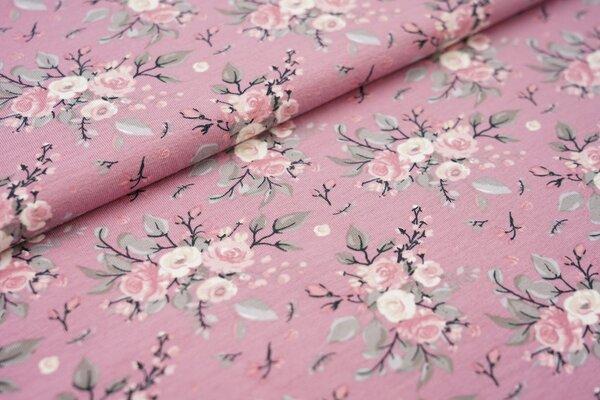 Baumwoll-Jersey Rosenstrauß Blumen auf altrosa