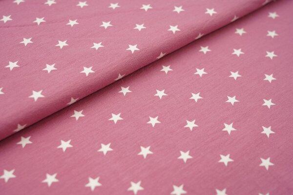Baumwoll-Jersey weisse Sterne auf altrosa
