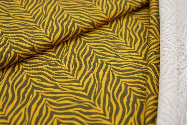 Baumwoll-Sweat mit Zebra-Muster dunkelgrau / senfgelb