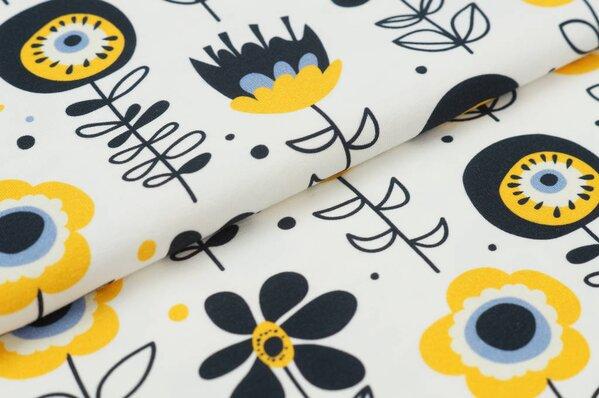 Baumwoll-Jersey Digitaldruck Blumen Retro-Look gelb schwarz auf off-white