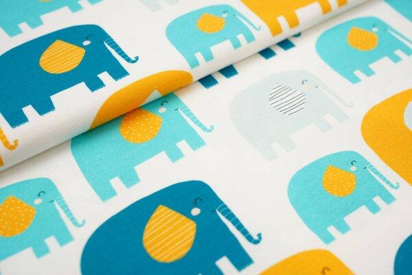 Traumbeere Baumwoll-Jersey Digitaldruck Elefanten Parade off white / petrol / gelb / mint