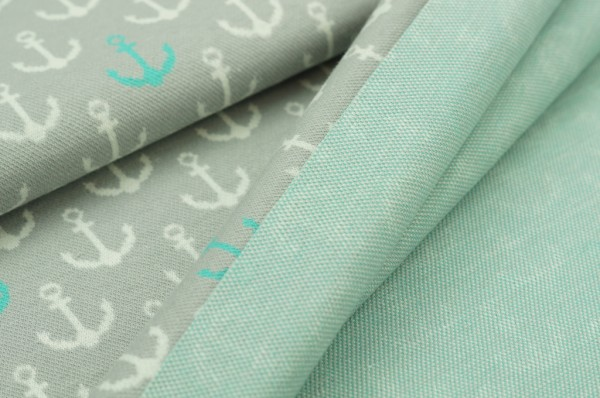 Jacquard-Sweat Anker pastell grau off white mint