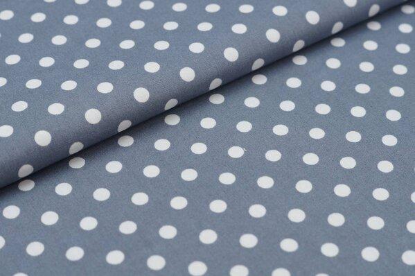 Baumwollstoff Baumwolle große Punkte grau / weiß