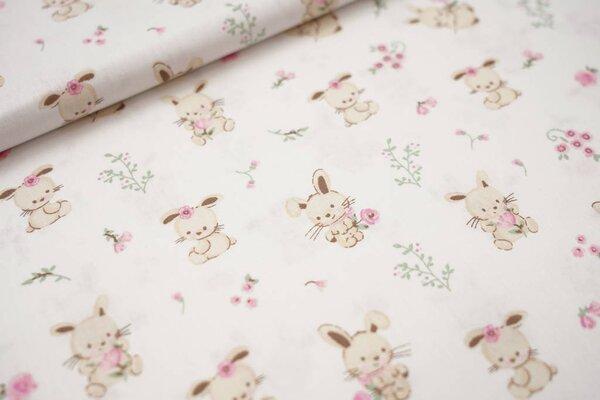 Baumwolle Hasen Kaninchen mit Blumen auf weiß