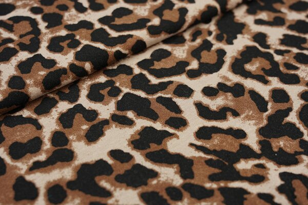 Viskose-Jersey Leoparden-Muster schwarz / braun / beige