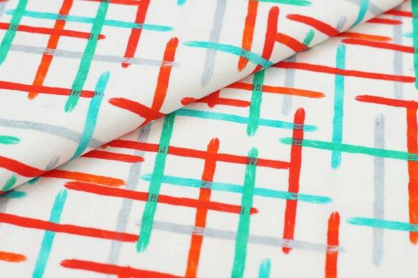 Baumwoll-Jersey Digitaldruck buntes Korbgeflecht auf off white