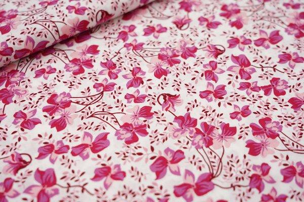 Baumwollstoff rosa Blumen auf weiß