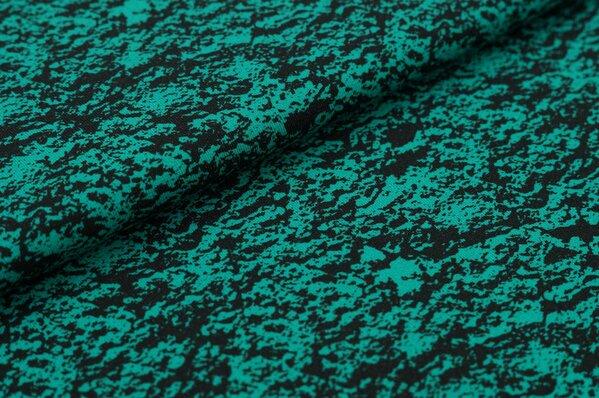 Baumwoll-Jersey Digitaldruck abstraktes Steinmuster smaragdgrün / schwarz