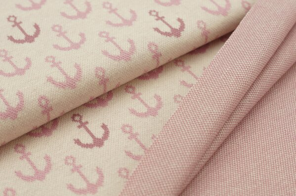 Jacquard-Sweat Ben dunkel altrosa und altrosa Anker auf pastell rosa