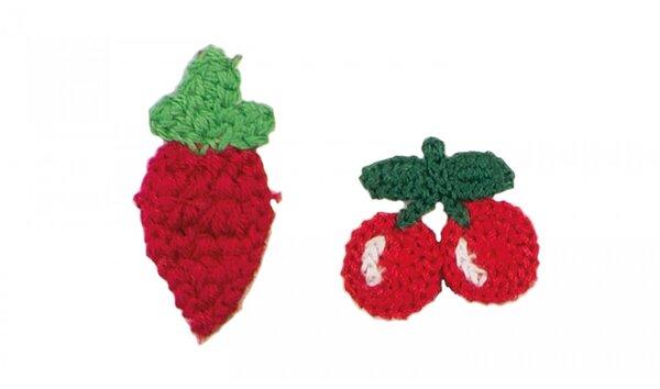 Baumwoll-Applikationen Erdbeere Kirschen Aufnäher