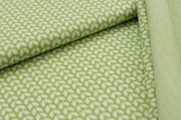Jacquard-Sweat Ben kleine off white Blätter auf hellgrün