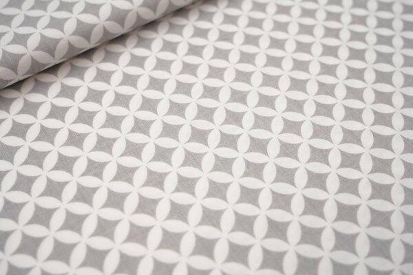 Baumwollstoff Fantasy Kreis Muster hellgrau / weiß maritime Baumwolle