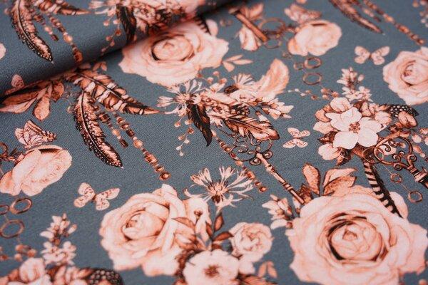 Digitaldruck Baumwoll-Jersey Rosenkette mit Schlüssel und Federn auf dunkelgrau