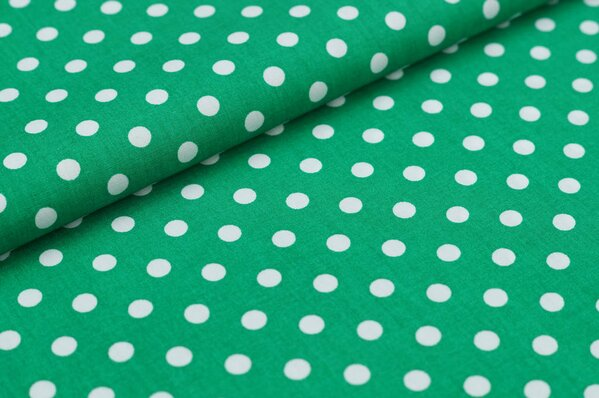 Baumwollstoff Baumwolle große Punkte dunkelgrün / weiß