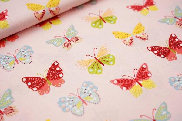 Baumwolle große Schmetterlinge rosa / rot / hellbau / gelb