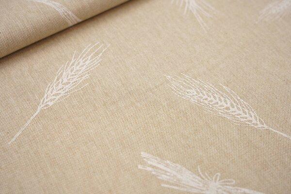 Canvas-Stoff Dekostoff in Leinenoptik Weizenähren natur / weiß