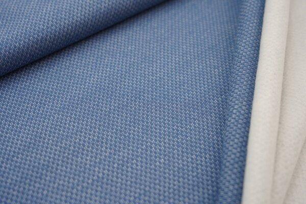 Jacquard-Sweat mit Kästchen-Muster und kuscheliger Innenseite jeansblau / weiß