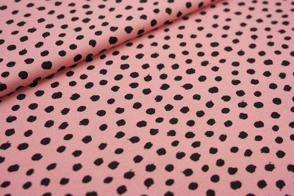 Baumwoll-Jersey schwarze getupfte Punkte auf pastell altrosa