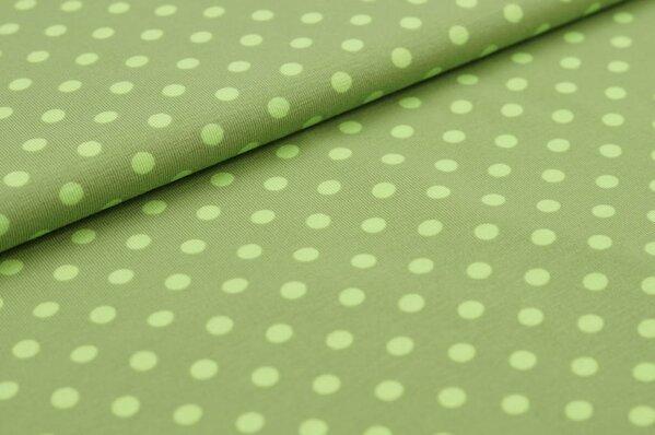 Baumwoll-Jersey große limettengrüne Punkte auf hell khaki