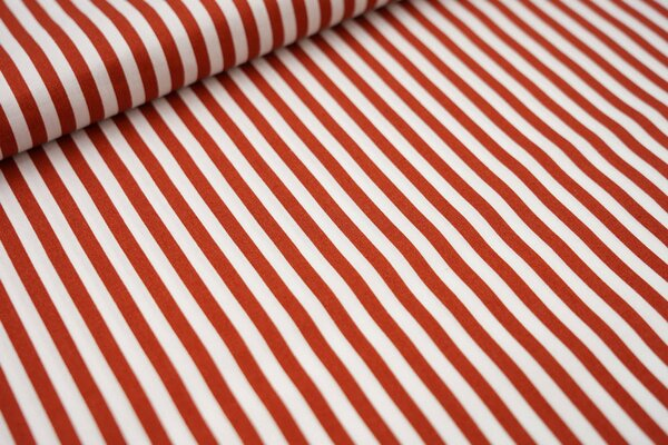 Baumwollstoff Baumwolle Streifen rostorange / weiß