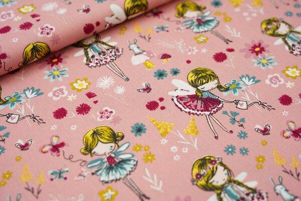 Baumwolle Feen Schmetterlinge Hasen Blumen Pilze auf pastell rosa