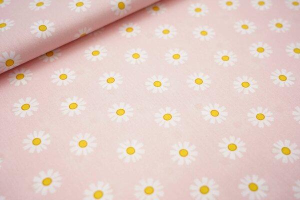Baumwolle mit Gänseblümchen Blüten auf rosa