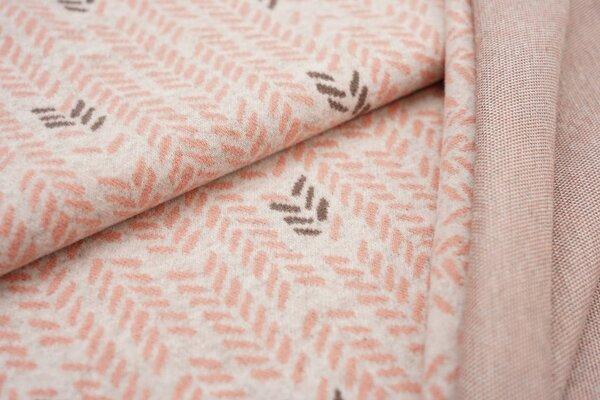 Jacquard-Jersey Blätter Muster Ähren off white / taupe braun / lachs